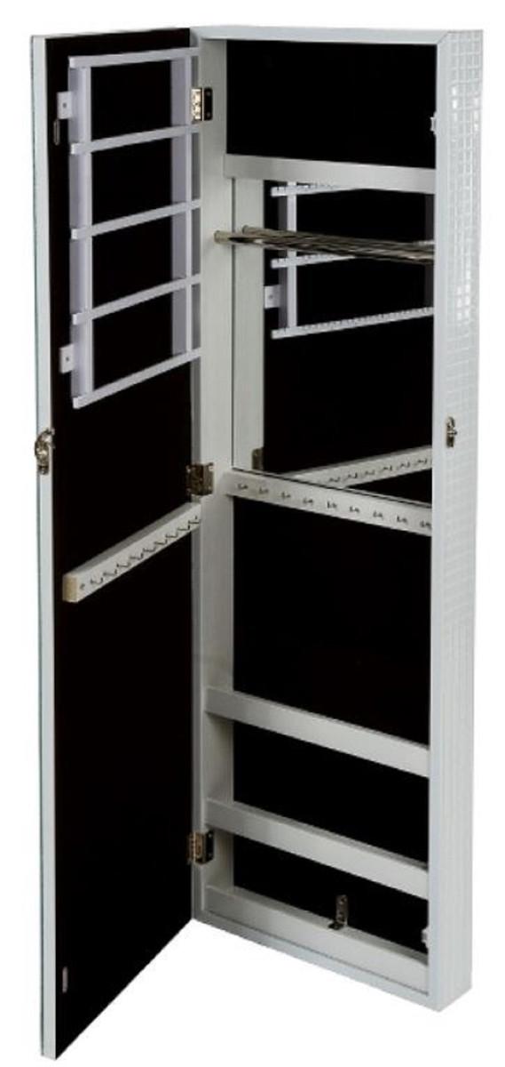 Casa Padrino Luxus Schmuckschrank mit Spiegeltür & Glitteroptik Silber / Weiß 36 x 9 x H. 120 cm - Luxus Kollektion 2