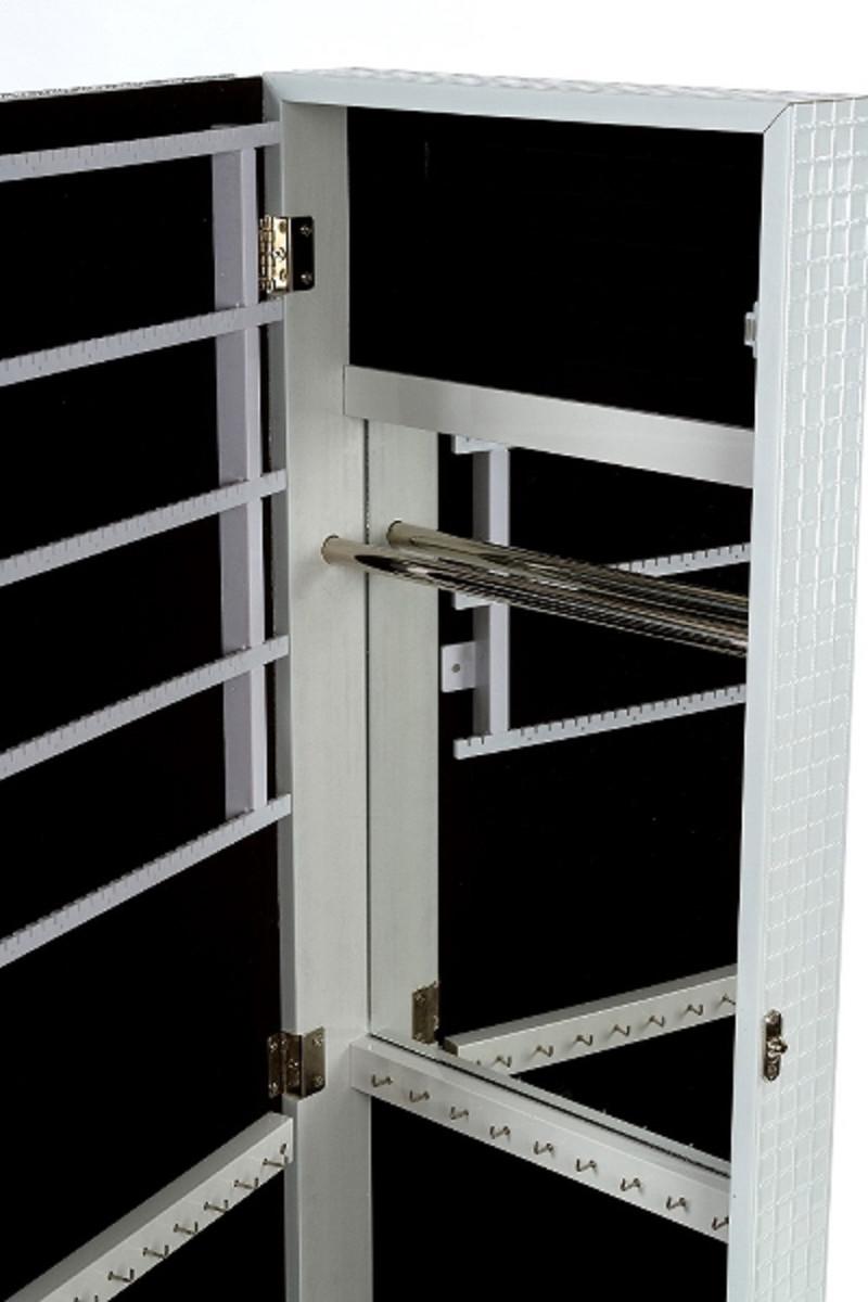Casa Padrino Luxus Schmuckschrank mit Spiegeltür & Glitteroptik Silber / Weiß 36 x 9 x H. 120 cm - Luxus Kollektion 3