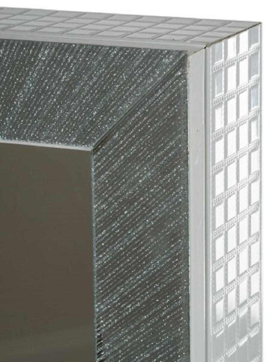Casa Padrino Luxus Schmuckschrank mit Spiegeltür & Glitteroptik Silber / Weiß 36 x 9 x H. 120 cm - Luxus Kollektion 4
