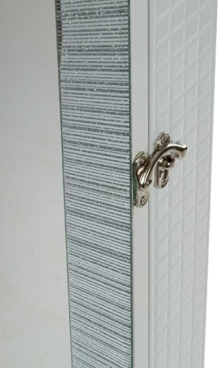 Casa Padrino Luxus Schmuckschrank mit Spiegeltür & Glitteroptik Silber / Weiß 36 x 9 x H. 120 cm - Luxus Kollektion 5