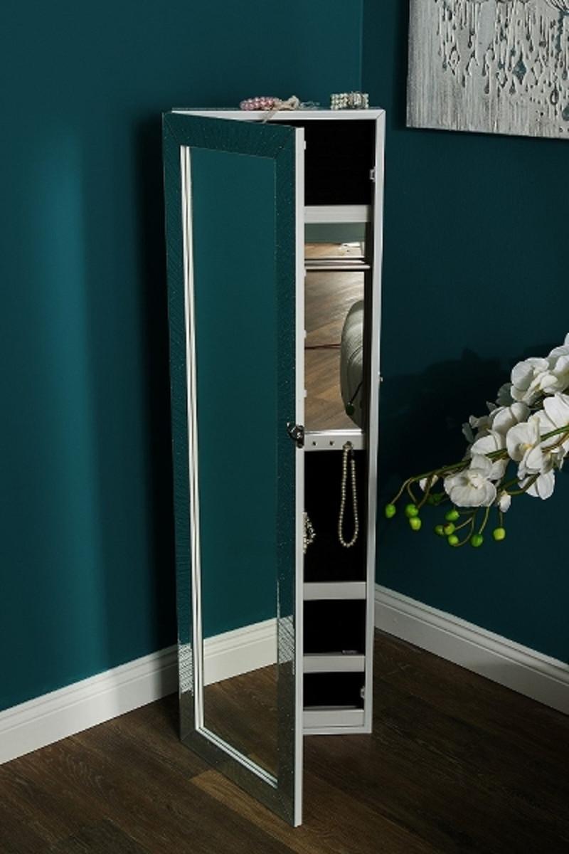 Casa Padrino Luxus Schmuckschrank mit Spiegeltür & Glitteroptik Silber / Weiß 36 x 9 x H. 120 cm - Luxus Kollektion 6