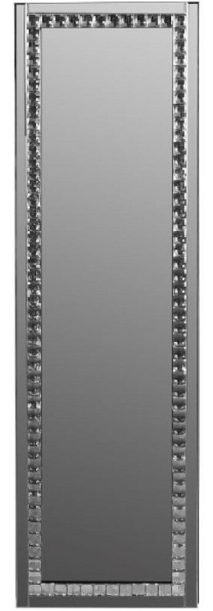 Casa Padrino Luxus Schmuckschrank mit Spiegeltür Silber / Schwarz 35 x 9 x H. 120 cm - Luxus Kollektion 1