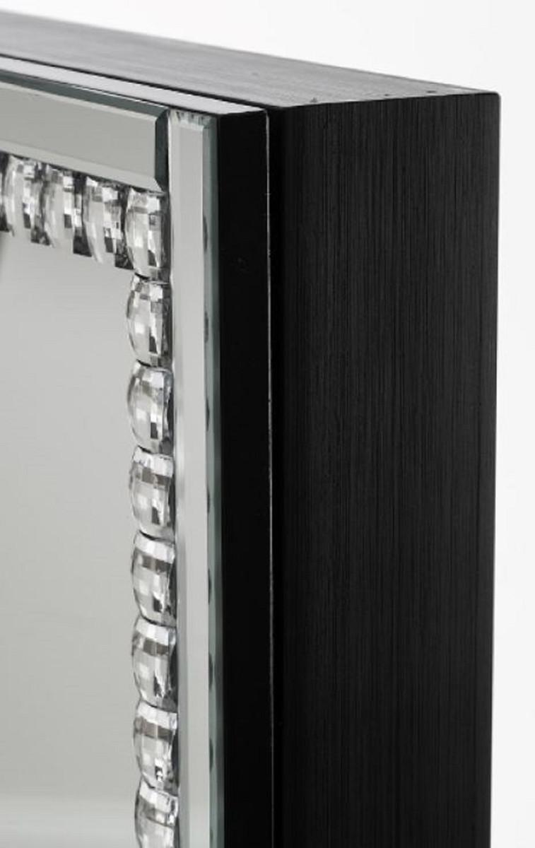 Casa Padrino Luxus Schmuckschrank mit Spiegeltür Silber / Schwarz 35 x 9 x H. 120 cm - Luxus Kollektion 2