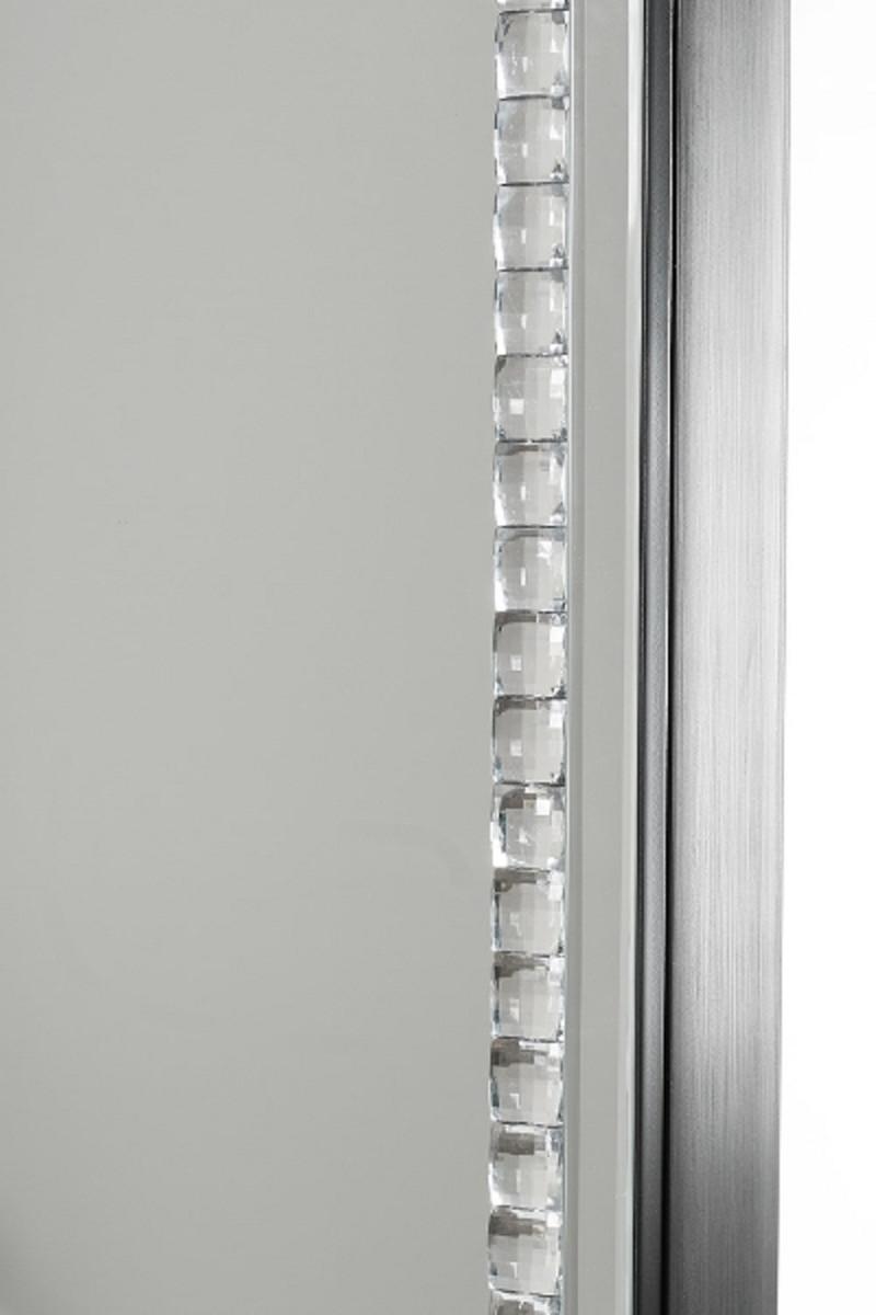 Casa Padrino Luxus Schmuckschrank mit Spiegeltür Silber / Schwarz 35 x 9 x H. 120 cm - Luxus Kollektion 3