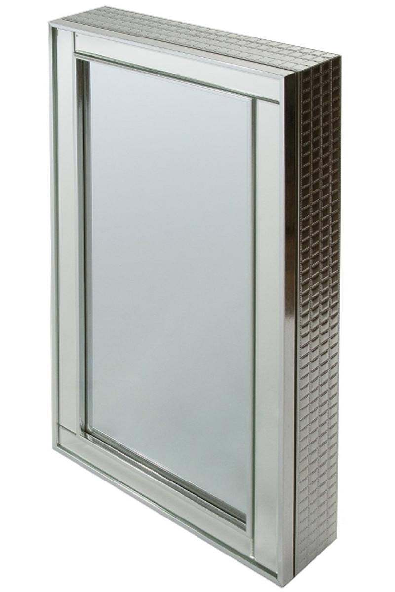 Casa Padrino Luxus Schmuckschrank Silber 40 x 9 x H. 80 cm - Spiegelschrank mit verspiegelter Schiebetür  1
