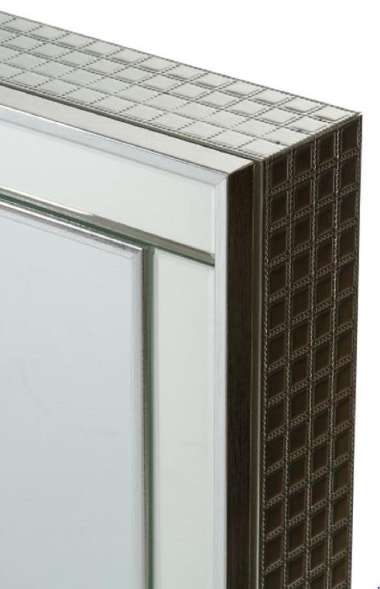 Casa Padrino Luxus Schmuckschrank Silber 40 x 9 x H. 80 cm - Spiegelschrank mit verspiegelter Schiebetür  2