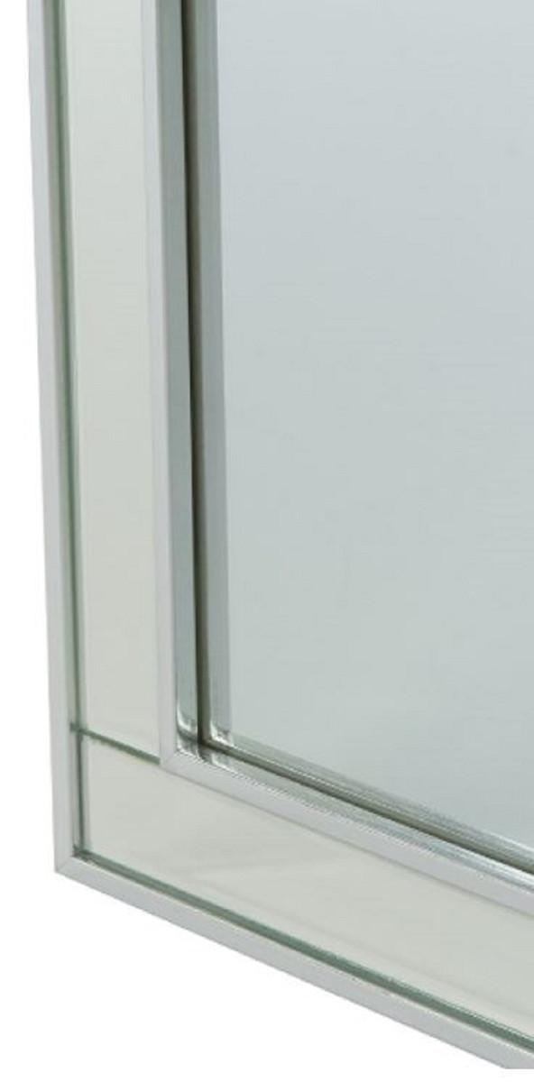 Casa Padrino Luxus Schmuckschrank Silber 40 x 9 x H. 80 cm - Spiegelschrank mit verspiegelter Schiebetür  3