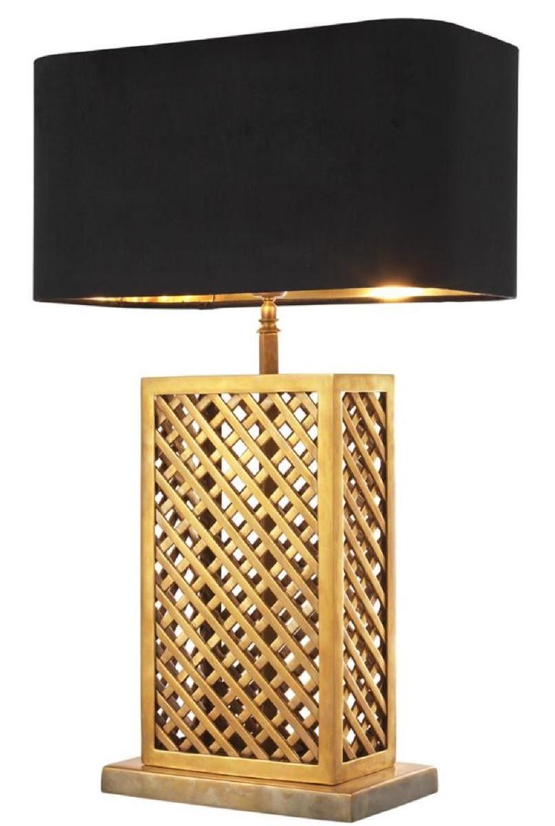 Casa Padrino Luxus Tischleuchte Vintage Messingfarben / Schwarz 46 x 22 x H. 72 cm - Luxus Qualität 1