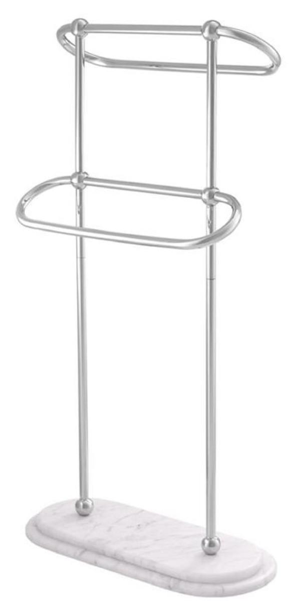 Casa Padrino Luxus Handtuchhalter Silber / Weiß 50 x 22 x H. 91 cm - Luxus Badezimmer Accessoires 1