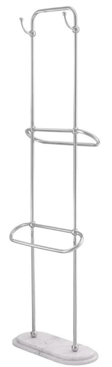 Casa Padrino Luxus Handtuchhalter Silber / Weiß 50 x 22 x H. 159 cm - Luxus Badezimmer Accessoires 1