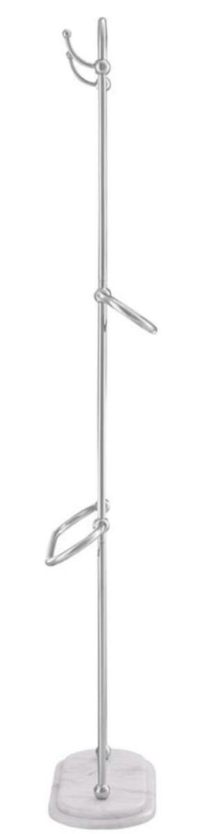 Casa Padrino Luxus Handtuchhalter Silber / Weiß 50 x 22 x H. 159 cm - Luxus Badezimmer Accessoires 3