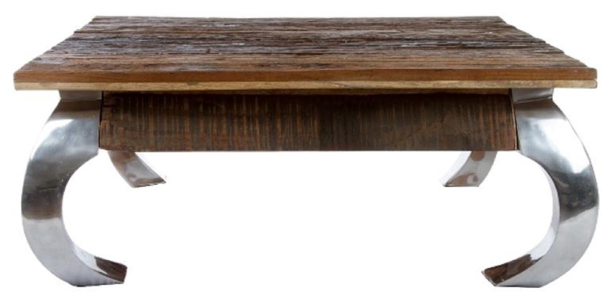 Casa Padrino Designer Couchtisch Braun / Silber 100 x 100 x H. 40 cm - Luxus Wohnzimmermöbel 2