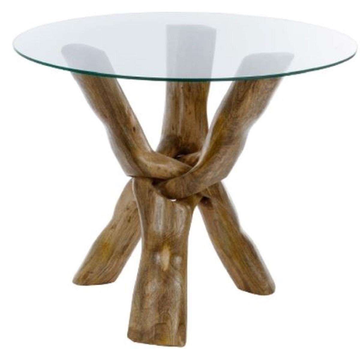 Casa Padrino Luxus Glastisch Braun Ø 90 x H. 73 cm - Dreibeiniger Runder Tisch 1