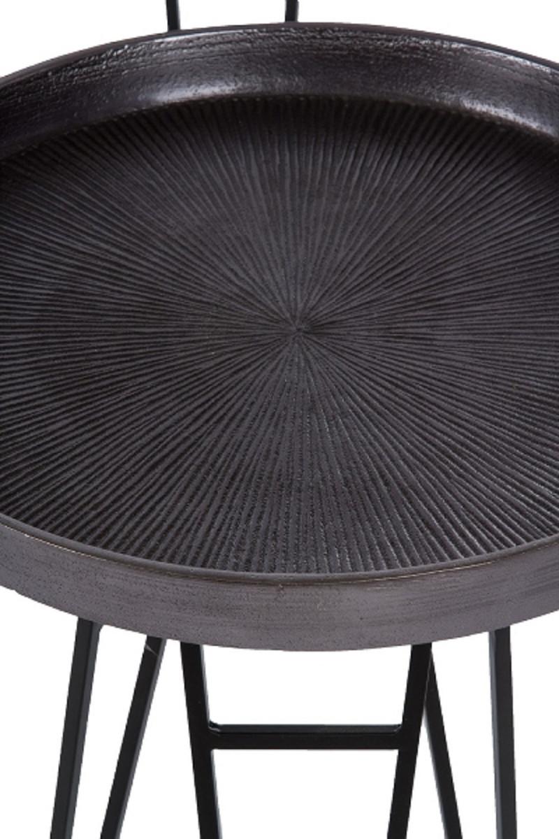 Casa Padrino Luxus Wohnzimmer Beistelltisch Set Bronze / Silber / Grau Ø 50 x H. 60 cm - Runde Metall Beistelltische 2