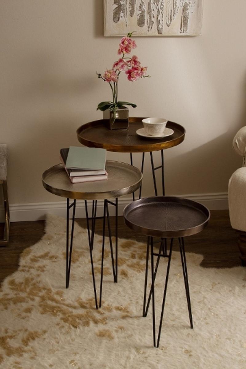 Casa Padrino Luxus Wohnzimmer Beistelltisch Set Bronze / Silber / Grau Ø 50 x H. 60 cm - Runde Metall Beistelltische 5