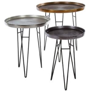 Casa Padrino Luxus Wohnzimmer Beistelltisch Set Bronze / Silber / Grau Ø 50 x H. 60 cm - Runde Metall Beistelltische