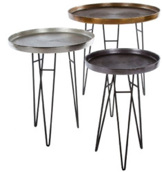 Casa Padrino Luxury Living Room Side Table Set Bronze / Silver / Gray Ø 50 x H. 60 cm - Round Metal Side Tables