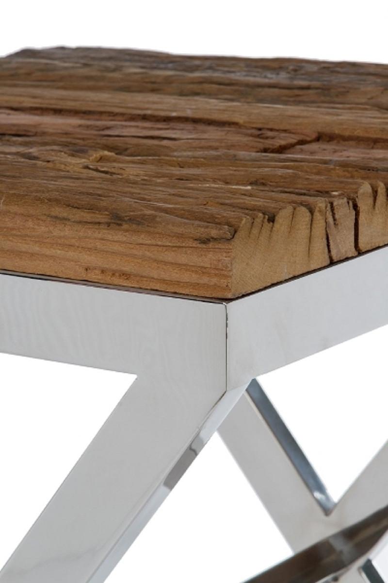 Casa Padrino Luxus Beistelltisch Braun / Silber 45 x 45 x H. 60 cm - Beistelltisch mit rustikaler Oberfläche und zusätzlicher Glasplatte 4