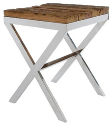 Casa Padrino luxury side table brown / silver 45 x 45 x H. 60 cm - Side Table with Rustic Surface and Additional Glass Top