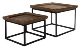 Casa Padrino Luxury Side Table Set Brown / Black 45 x 45 x H. 46 cm - Side Tables with Raised Wooden Edge and Metal Base