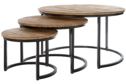 Casa Padrino luxury coffee table set of 3 natural / black Ø 78 x H. 48 cm - Round Coffee Tables with Semicircular Metal Base Frame
