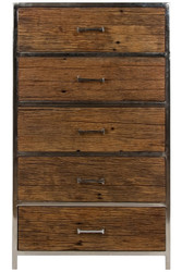 Casa Padrino luxury dresser with 5 drawers brown / silver 60 x 40 x H. 110 cm - Luxury Furniture
