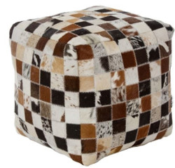Casa Padrino luxury sitting cube multicolor 40 x 40 x H. 40 cm - Fur Sitting Stool in Patchwork Design