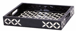 Casa Padrino Luxury Serving Tray Black / White 36 x 29 x H. 6 cm - Luxury Polyresin Tray with 2 Carrying Handles
