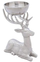 Casa Padrino Luxus Aluminium Rentier Figur mit Schüssel Silber 25 x 16 x H. 27 cm - Hotel & Restaurant Accessoires