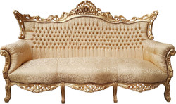 Casa Padrino Baroque 3 seater sofa Gold Pattern / Gold - Living room furniture couch lounge