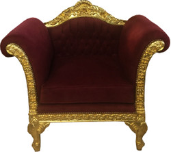 Casa Padrino Baroque Lounge Armchair Bordeaux / Gold Furniture Antique Style - Living Room Club Furniture Armchair - Limited Edition
