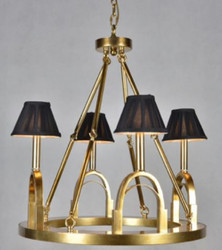 Casa Padrino Luxury Chandelier Stirrup Antique Gold / Black Ø 62 x H. 68 cm - Hotel & Restaurant Lamp