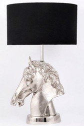 Casa Padrino luxury table lamp horse head silver / black Ø 45 x H. 75 cm - Designer Lamp with Round Lampshade