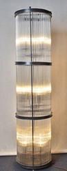 Casa Padrino Wohnzimmer Stehleuchte Schwarz Ø 32 x H. 140 cm - Runde Luxus Stehlampe