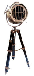 Casa Padrino luxury studio lamp antique brass / brown 36 x 30 x H. 128-183 cm - Height Adjustable Tripod Floor Lamp