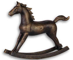 Casa Padrino Cast Iron Deco Rocking Horse Antique Bronze 21 x 4.9 x H. 17.5 cm - Luxury Decoration