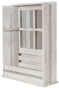 Casa Padrino Country Style Shabby Chic Wall Mounted Cabinet Antique White 44 x 17 x H. 59 cm - Handcrafted Wall Cabinet with Mirror – Bild 1