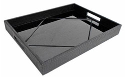 Casa Padrino luxury serving tray black croco optics 43 x 34 x H. 5 cm - Gastronomy Accessories
