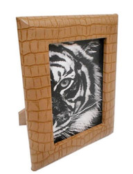 Casa Padrino Luxury Leather Picture Frame Light Brown 13 x 4 x H. 18 cm - Decorative Picture Frame in Crocodile Look