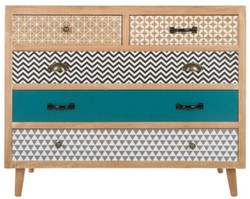 Casa Padrino luxury chest of drawers with 5 drawers natural / multicolor 90 x 40 x H. 80 cm - Chest of Drawers in the 70s Design