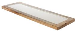 Casa Padrino Luxus Holz Keramik Deko Tablett Naturfaben / Creme 17 x 6 x H. 2 cm - Deko Accessoires