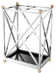 Casa Padrino Luxury Umbrella Stand Silver / Brass / Black 41.5 x 26.5 x H. 58 cm - Luxury Accessories