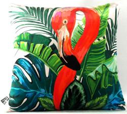 Casa Padrino Living Room Cushion New Orleans Flamingo Multicolor 45 x 45 cm - Finest Velvet Fabric - Luxury Decoration Accessories