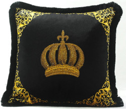 Harald Glööckler Luxury Decorative Pillow Pompöös by Casa Padrino Crown With Rhinestones Black / Gold - Finest Velvet Fabric - Glööckler Pillow