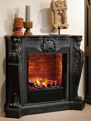 Casa Padrino Luxury Art Nouveau Fireplace with Bio Burner and Glass Black 118 x 43 x H. 111 cm - Luxury Ethanol Fireplace