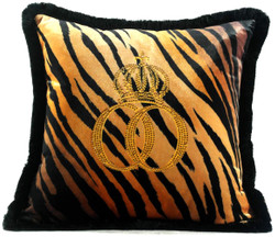 Harald Glööckler Luxury Decorative Pillow Pompöös by Casa Padrino Crown Deluxe Tiger With Rhinestones Black / Orange / Gold - Finest Velvet Fabric - Glööckler Pillow