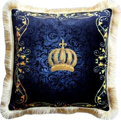 Harald Glööckler Luxury Decorative Pillow Pompöös by Casa Padrino Crown & Ornaments Black / Gold - Finest Velvet Fabric - Glööckler Pillow with Rhinestones