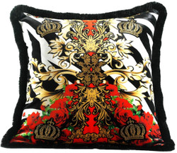 Harald Glööckler Luxury Decorative Pillow Pompöös by Casa Padrino Crowns & Roses Multicolor - Finest Velvet Fabric - Glööckler Pillow with Rhinestones
