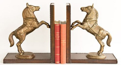Casa Padrino luxury bookend set horses brass / brown 47.5 x 11 x H. 28 cm - Deco Accessories