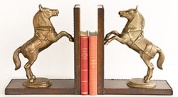 Casa Padrino luxury bookend set horses brass / brown 47.5 x 11 x H. 28 cm - Deco Accessories 1